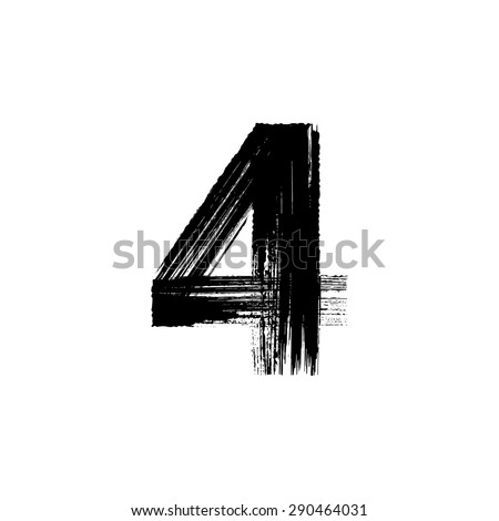Vector hand paint number four. Hand drawn letter with dry brush. - stock vector