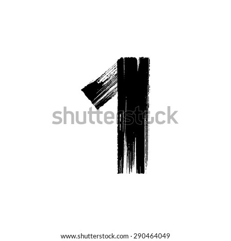 Vector hand paint number one. Hand drawn letter with dry brush. - stock vector