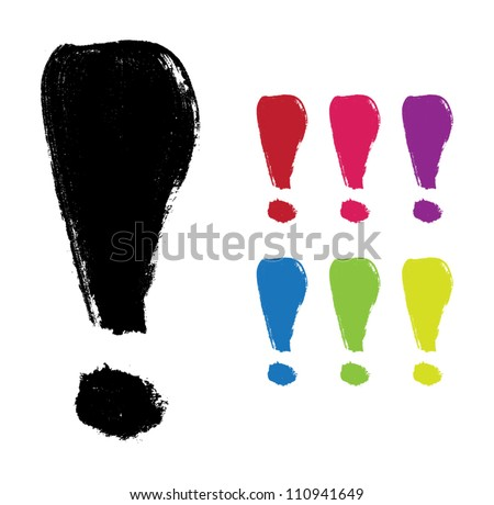 Vector hand-painted exclamation mark - stock vector