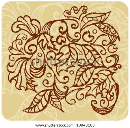 Vector hand painted foliage design with dry-brush effect.  Rescale & recolor to your liking.