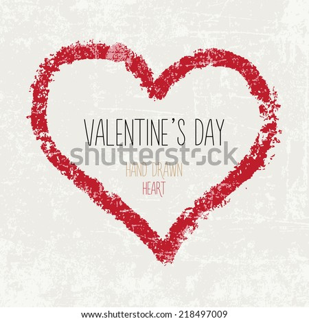 Vector hand painted grungy red heart on beige weathered background. Valentine's day postcard. Artistic greeting. - stock vector