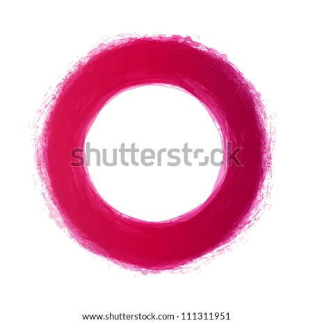 Vector hand-painted red circle - stock vector