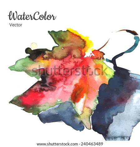 Vector hand painting abstract watercolor autumn leaf illustration. Eps10 - stock vector