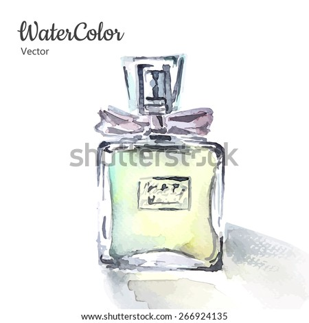 Vector hand painting watercolor illustration of glass perfume bottle. Eps10 - stock vector