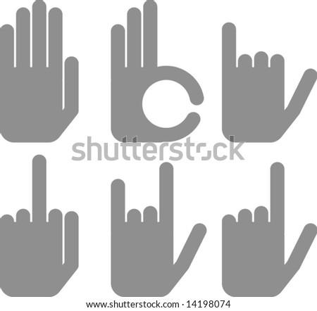 vector hand signs - stock vector