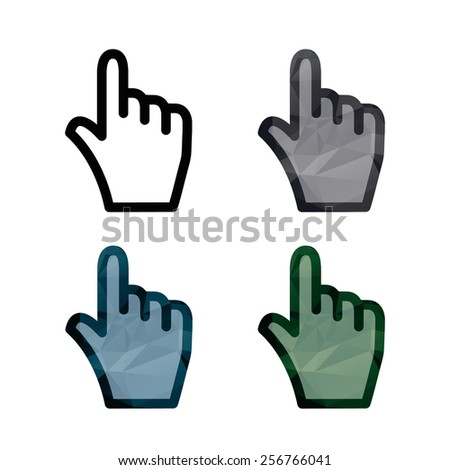 Vector hand triangle cursor