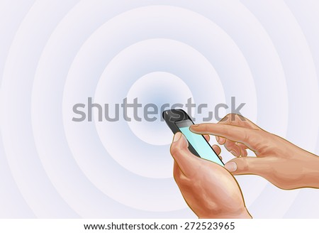 Vector Hand with a cell phone - stock vector