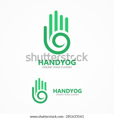 Vector hand with a spiral logo - stock vector