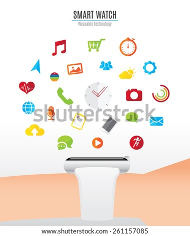 Vector : Hand with smart watch and smart watch function icons floating over watch,Wearable Technology - stock vector