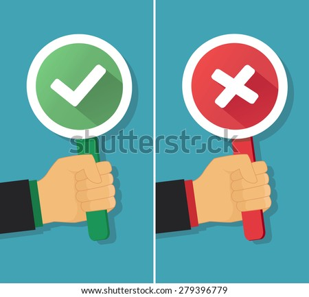 Vector hand with true and false sign in flat style. Illustration of positive and negative concept. - stock vector