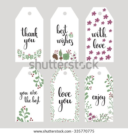Vector hand written calligraphy style short messages set. Lettering thank you, love you, with love, best wishes, enjoy. Design elements for postcard or poster typography. - stock vector