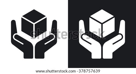 Vector handle with care icon. Two-tone version on black and white background