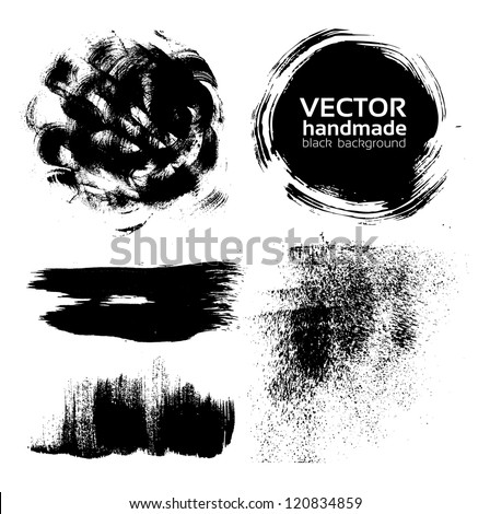 Vector handmade brush strokes set painted by ink - stock vector