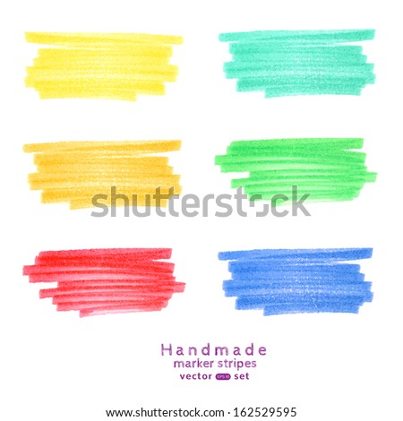 Vector  handmade marker stripes different trendy  colors. set of six design elements.  - stock vector