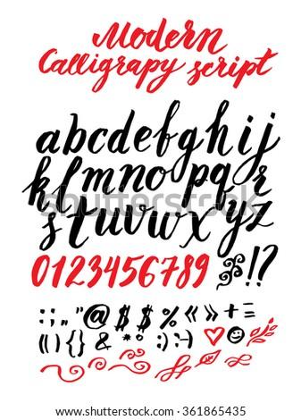 Vector handmade modern calligraphy Roman alphabet script - drawn by ink and brush - stock vector