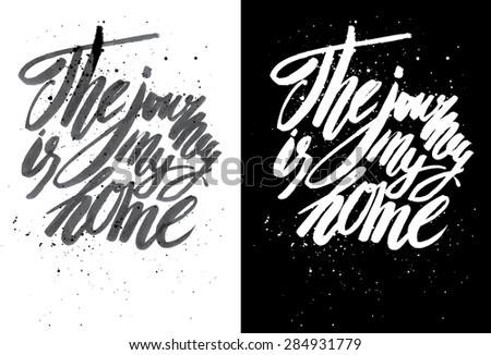 Vector handmade motivation quotes - drawn by ink and brush - stock vector