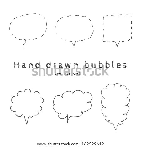 Vector  handmade speech bubbles. set of six design elements - stock vector