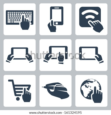 Vector hands and technology icons set - stock vector