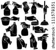 Vector hands & bathroom silhouettes set. - stock vector