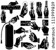 Vector hands & energy silhouettes set - stock