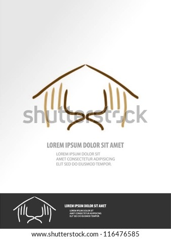 Vector hands forming house - stock vector