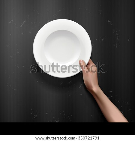 Vector hands holding white plate on blackboard - stock vector