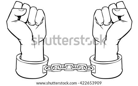 Vector hands in shackles - stock vector
