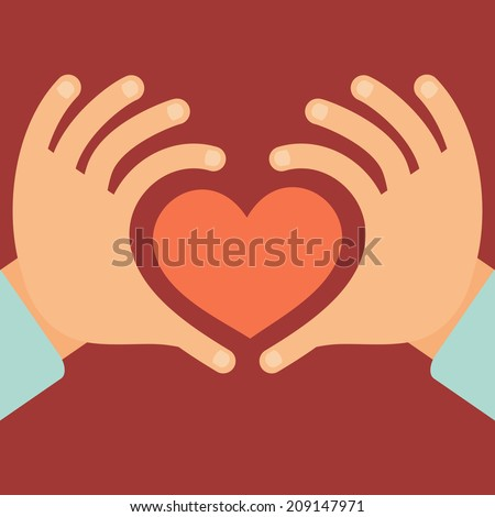 Vector hands in the form of heart - love and charity concept in flat style - stock vector