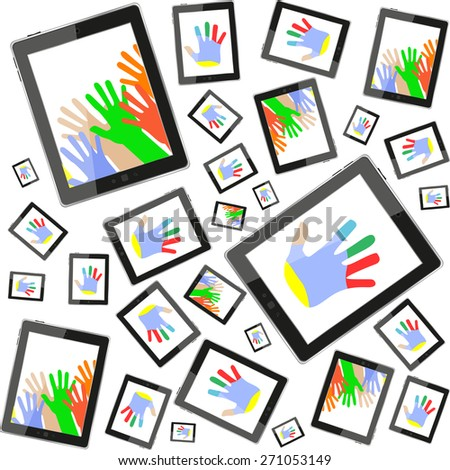 vector hands on tablet touch computer set on white background - stock vector