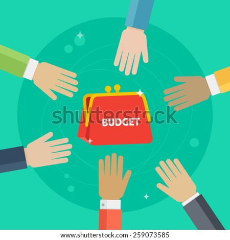 Vector hands reaching for budget. Money share illustration. Investment concept - stock vector