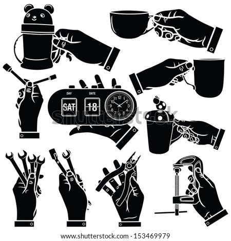 Vector Hands Silhouettes - stock vector