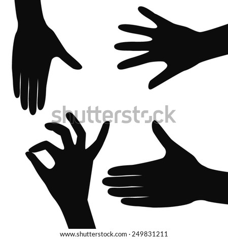 Vector hands silhouettes, isolated on white background.