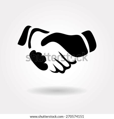 vector handshake icon - stock vector