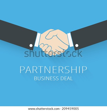 Vector handshake illustration. Background for business and finance - stock vector