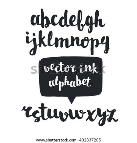 Vector handwritten brush alphabet. Hand drawn alphabet - stock vector