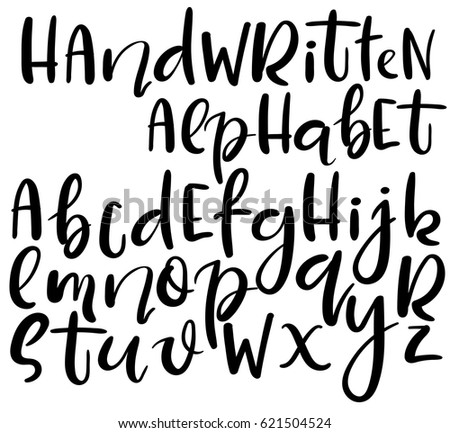 Vector Handwritten Brush Alphabet Isolated On White Background Different Style Of Letters Doodle Abc