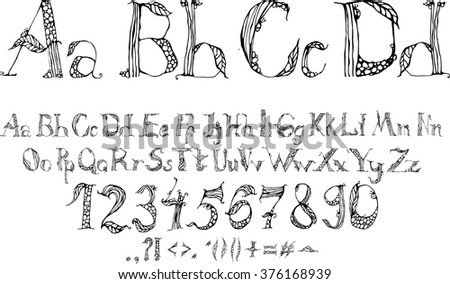 Vector handwritten brush script. White and black letters. Vector alphabet. Hand drawn letters written with a brush. Hand drawn brush stroke font. Calligraphic font with numbers, ampersand and symbols.