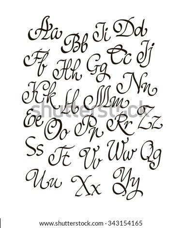 Handwritten Calligraphy Flourish Font Capital Letters