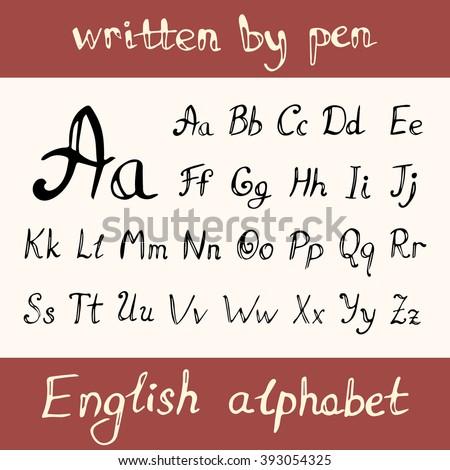 English Handwriting Alphabet Figures Vector Stock Vector 279795683 ...
