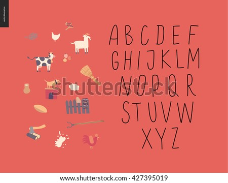 Vector handwritten latin alphabet on the red background with rural elements - stock vector