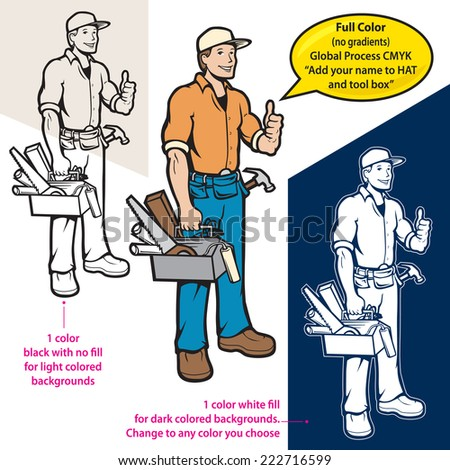vector handyman in 3 different versions - stock vector