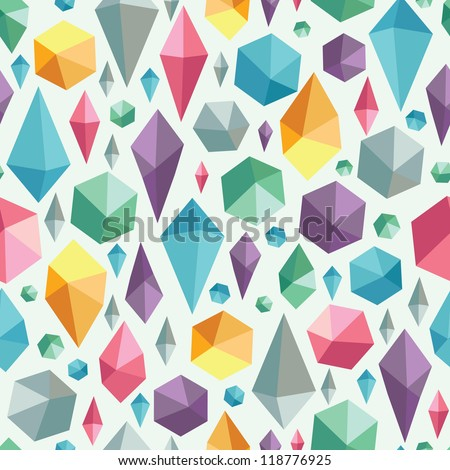 Vector hanging geometric shapes on colorful seamless pattern background. - stock vector