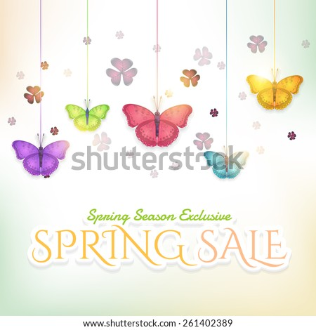 Vector Hanging Multicolor Butterflies and Clover on Blurred Background, Spring Sale Theme - stock vector