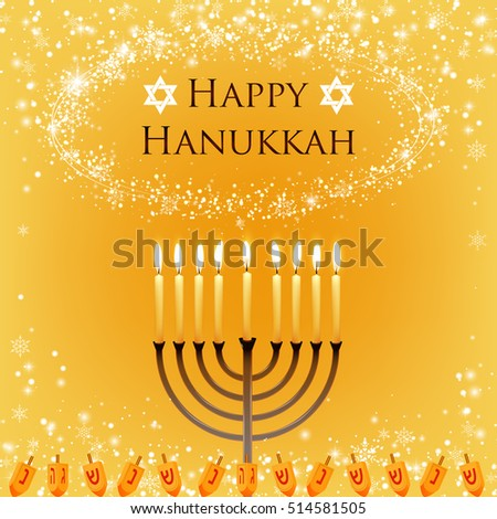 Vector Hanukkah background with menorah and david star. Shining stars and snowballs on the back. Happy Hanukkah background. Elegant greeting card. happy Hanukkah