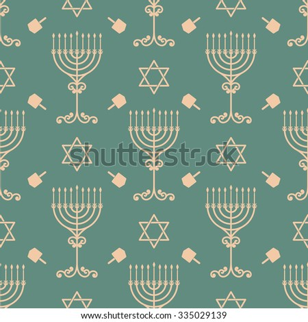 Vector hanukkah seamless pattern with menorah, dreidel and david star. Luxury traditional ornament, seamless texture for wallpapers, textile, wrapping.