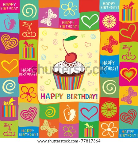 Vector happy birthday card. Illustration of cute cupcake - stock vector