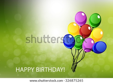 Vector happy birthday card with a lot of balloons - stock vector