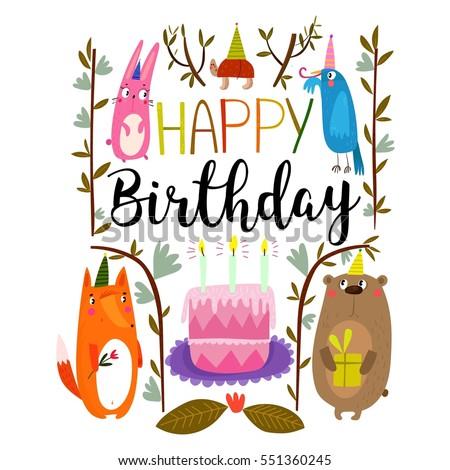 Vector Happy Birthday Card Cute Rabbit Vector 551360245 – Happy Birthday Cards Cute