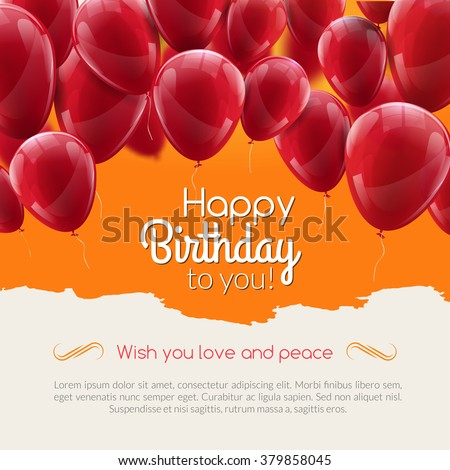 Vector happy birthday card with red balloons, party invitation. Birthday balloons - stock vector