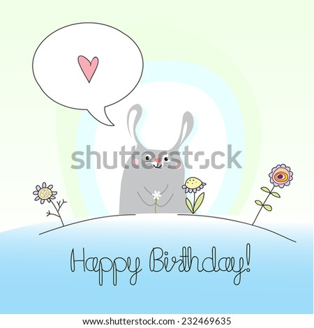 Vector happy birthday children greeting card, birthday invitation. Kids anniversary celebration greeting card.  - stock vector